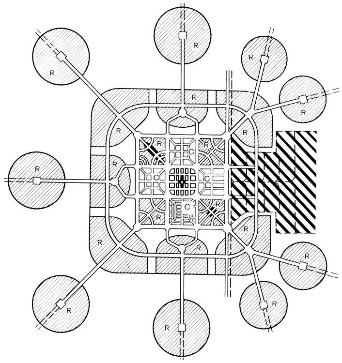 Схема большого города с