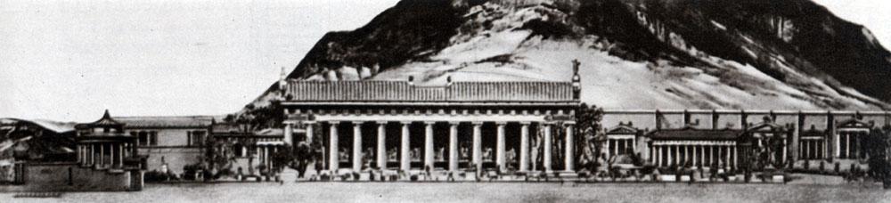 На первом плане - храм Зевса,