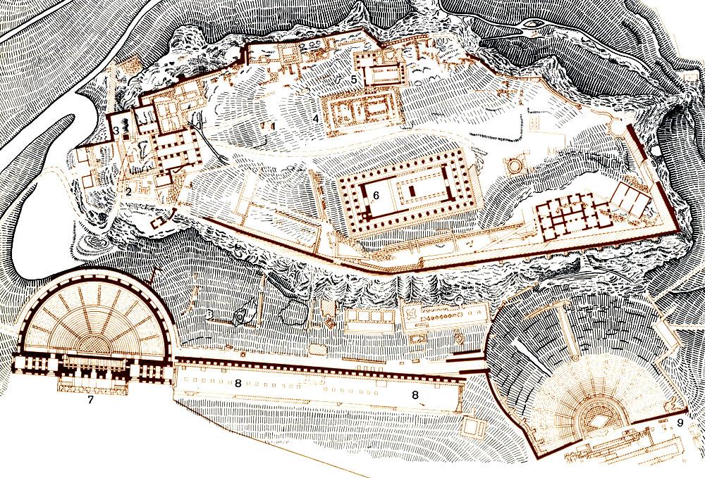 Афины. План акрополя в 30-х