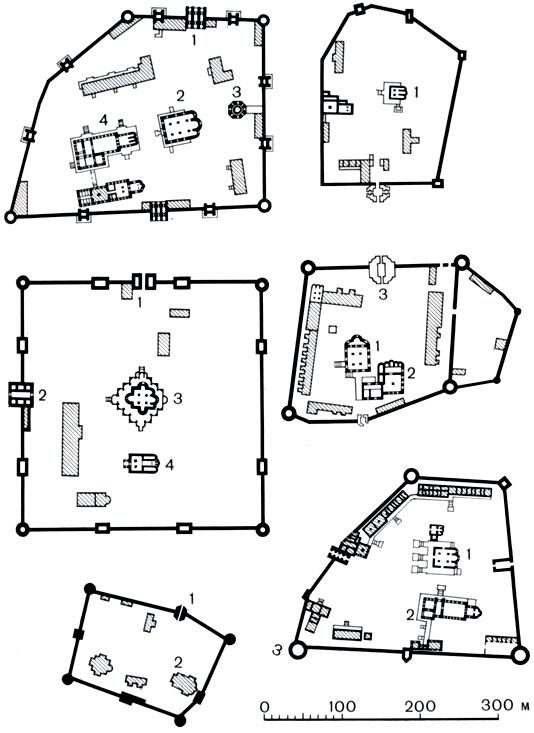 Планы монастырей-сторожей