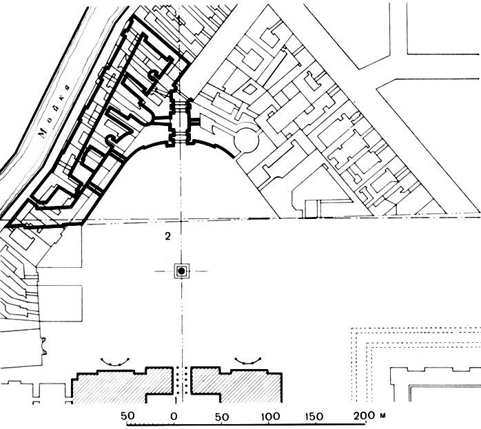 1 - Зимний дворец; 2 - здание
