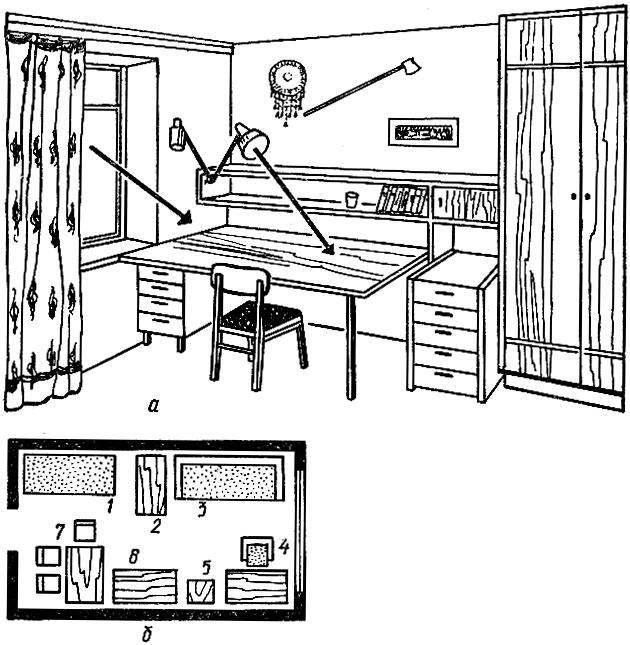 5 - книжный шкаф;