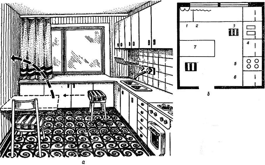 б - план; 1 - холодильник;